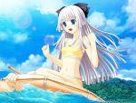 blue_eyes game_cg innertube jpeg_artifacts kneeling kono_aozora_ni_yakusoku_wo kujou_miyaho long_hair nekonyan swimsuit white_hair
