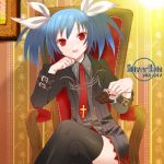 blue_hair chair chin_rest chocolate cross crossed_legs eitomo_haruno flat_chest gothic hair_ribbon lowres nail_polish necktie original plaid red_eyes ribbon short_twintails silver_rain sitting skirt smile solo strap thigh-highs thighhighs twintails zettai_ryouiki