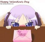blush hiiragi_kagami lucky_star purple_hair tsundere twintails valentine violet_eyes
