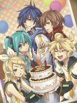 birthday cake detached_sleeves food hatsune_miku headset kagamine_len kagamine_rin kaito lighter meiko pastry vocaloid yoh_(pixiv199441)