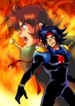 bandana black_hair bodysuit brothers domon_kasshu fire g_gundam gundam koromo koromo_(kinu) male multiple_boys scar schwarz_bruder siblings