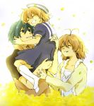 brown_hair carrying clannad dress family flower furukawa_nagisa green_hair hat ho husband_and_wife okazaki_tomoya okazaki_ushio petals sailor_dress sailor_uniform short_hair