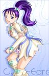 1girl boots c-wing character_name cure_egret futari_wa_precure_splash_star gloves knee_boots magical_girl mishou_mai ponytail precure purple_hair solo violet_eyes white_boots