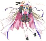 1girl blue_eyes bow buttons cape hat large_buttons little_busters! long_hair noumi_kudryavka paco pink_bow school_uniform serafuku silver_hair solo thigh-highs