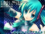 ! 1girl :d aqua_hair collared_shirt dated detached_sleeves grey_shirt hair_between_eyes hair_ornament hatsune_miku headphones long_hair looking_at_viewer musical_note necktie number open_mouth polka_dot polka_dot_background quaver rei_(artist) rei_(rei's_room) shirt smile solo tattoo twintails vocaloid