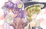 2girls blonde_hair coffee_cup coffee_mug crescent cup drinking female hat kirisame_marisa long_sleeves looking_at_viewer lowres mob_cap multiple_girls nyagakiya patchouli_knowledge purple_hair steam touhou upper_body violet_eyes witch_hat yellow_eyes