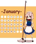 00s 1girl 2008 braid calendar female izayoi_sakuya january short_hair silver_hair solo takishima_asaka touhou twin_braids