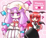 2girls bow female happy_valentine head_wings koakuma multiple_girls nekoyu patchouli_knowledge pink_bow the_embodiment_of_scarlet_devil touhou valentine
