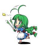1girl ahoge aqua_eyes braid butterfly chibi f-ism green_hair me-tan murakami_suigun os-tan solo spring_onion twin_braids