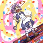 1girl abstract_background cuffs drooling drugs dutch_angle futaba_channel handcuffs lowres maid nijiura_maids open_mouth pill purple_hair saliva short_hair solo syringe thigh-highs yakui