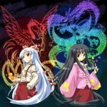 2girls bird black_hair blush bow branch brown_eyes dragon dress eastern_dragon female fire fujiwara_no_mokou hair_bow hand_in_pocket houraisan_kaguya jeweled_branch_of_hourai long_hair michii_yuuki multiple_girls pants phoenix pinky_out red_eyes ribbon rubber_duck smile suspenders touhou very_long_hair white_hair