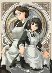 2girls art_nouveau black_hair bob_cut brown_eyes brown_hair creator_connection crossover emma emma_(victorian_romance_emma) glasses maid maid_headdress multiple_girls polychrome shirley shirley_madison shirley_medison short_hair smile victorian_romance_emma