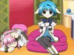 animal_ears animated_gif blue_hair dress flower galaxy_angel gif milfeulle_sakuraba military_uniform mint_blancmanche pink_hair short_hair source_request tagme thigh_high