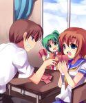 1boy 2girls card higurashi_no_naku_koro_ni holding holding_card maebara_keiichi mei multiple_girls playing_games ryuuguu_rena sonozaki_mion subaru_(yachika)