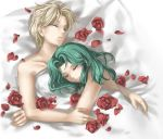 2girls 90s androgynous bed bed_sheet bishoujo_senshi_sailor_moon blonde_hair couple flower green_hair kaiou_michiru long_hair multiple_girls mutual_yuri naked_sheet nude petals red_rose reverse_trap rose rose_petals shilin short_hair signature sleeping ten'ou_haruka under_covers yuri
