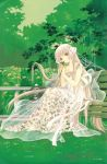 00s 1girl bench chii chobits clamp dress flower grass hair_tubes long_hair robot_ears see-through sitting solo tree very_long_hair