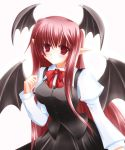 1girl bat_wings bow dress female head_wings koakuma long_hair pointy_ears redhead shirotsuki_kouta solo the_embodiment_of_scarlet_devil touhou wings