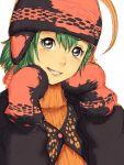 1girl beanie fumio_(rsqkr) green_hair grey_eyes grin hat head_tilt mittens original short_hair sketch smile solo upper_body
