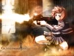 00s 1girl belt bob_cut brown_eyes brown_hair bullpup cardigan firing frilled_skirt frills gun gunslinger_girl henrietta holding holding_gun holding_weapon ishii_kumi jacket kneeling left-handed muzzle_flash official_art open_cardigan open_clothes p90 shell_casing shoes short_hair skirt smoke solo squatting submachine_gun wallpaper watermark weapon window