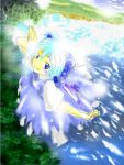 1girl blue_dress blue_eyes blue_hair cirno day dress female flying full_body ice ice_wings lake looking_at_viewer outdoors shore smile solo the_embodiment_of_scarlet_devil touhou water wings