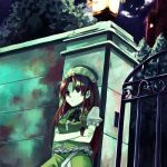 1girl against_wall braid chinese_clothes crossed_arms female gate hat hong_meiling lantern long_hair looking_afar night redhead ribbon solo takishima_asaka the_embodiment_of_scarlet_devil touhou twin_braids