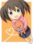 brown_hair fish fujioka-kuma jimeko lowres minami-ke minami_kana skirt stuffed_animal stuffed_toy teddy_bear