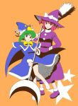 2girls cosplay female green_hair hashiyamoto hat kirisame_marisa kirisame_marisa_(cosplay) kirisame_marisa_(pc-98) mima mima_(cosplay) multiple_girls murasaki_komichi onozuka_komachi shiki_eiki touhou touhou_(pc-98) witch_hat wizard_hat