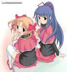 2girls blush fujisaki_nadeshiko imaichi long_hair looking_back multiple_girls ribbon school_uniform serafuku shugo_chara! sitting thigh-highs trap yuiki_yaya