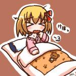 >_< blonde_hair chibi closed_eyes female harapeko pajamas red_eyes rokugou_daisuke rumia sick sleepy the_embodiment_of_scarlet_devil touhou youkai