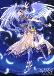 1girl angel_wings armor armored_dress blue blue_background boots braid copyright_name feathers fujimiya_misuzu gauntlets head_wings helmet lenneth_valkyrie long_hair silver_hair single_braid solo sword thigh-highs thigh_boots valkyrie valkyrie_profile violet_eyes weapon wings