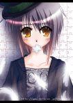 1girl blush feathers hat jigsaw_puzzle mouth_hold nagato_yuki purple_hair puzzle solo suzumiya_haruhi_no_yuuutsu yellow_eyes