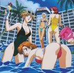 4girls 90s agent_aika aida_rion ass bent_over bianca_(agent_aika) bikini blonde_hair blue_delmo breasts brown_eyes brown_hair clouds delmo erect_nipples glasses golden_delmo green_eyes halterneck highleg highleg_swimsuit hotel long_hair looking_at_viewer medium_breasts multiple_girls one-piece_swimsuit orange_hair palm_tree pool pool_ladder poolside redhead short_hair side-tie_bikini silver_hair strapless strapless_swimsuit sumeragi_aika sunglasses sunglasses_on_head swimsuit tan tree valerie_(blue_delmo) wading water white_hair yamauchi_noriyasu