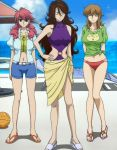 3girls bare_shoulders belt bikini_bottom brown_hair casual_one-piece_swimsuit christina_sierra closed_eyes feldt_grace gundam gundam_00 haro long_hair midriff multiple_girls navel ocean official_art one-piece_swimsuit open_clothes open_shirt outdoors pink_hair sandals sarong screencap shirt shorts sky standing sumeragi_lee_noriega swimsuit t-shirt tankini twintails