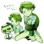 2boys blue_necktie bottomless character_name green_eyes green_hair green_necktie green_skin hat kappa kneeling monster_boy mr._aoki_(pop'n_music) multiple_boys necktie no_pants peaked_cap pointy_ears pop'n_music restrained reticulum shell short_hair simple_background smile suit_jacket sweat tanaka-san_(pop'n_music) webbed_hands white_background