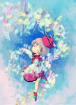 1girl closed_eyes clouds female grey_hair hat instrument keyboard lyrica_prismriver musical_note short_hair sky smile solo touhou