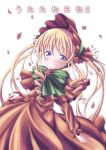 00s 1girl blonde_hair blue_eyes blush bonnet bow bowtie capelet dekosuke dress flower green_bow green_bowtie long_hair long_sleeves looking_at_viewer pink_rose red_dress rose rozen_maiden shinku sidelocks solo twintails very_long_hair