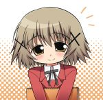 1girl blush brown_eyes brown_hair celebi_ryousangata hidamari_sketch holding looking_at_viewer lowres school_uniform sforce short_hair smile solo x_hair_ornament yellow_eyes yuno