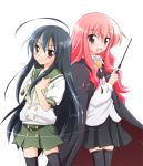 2girls ahoge alastor_(shakugan_no_shana) black_hair blush cape crossover fang jewelry kugimiya_rie louise_francoise_le_blanc_de_la_valliere manami_tatsuya multiple_girls pendant pentacle pink_hair school_uniform seiyuu_connection serafuku shakugan_no_shana shana skirt thigh-highs wand zero_no_tsukaima zettai_ryouiki