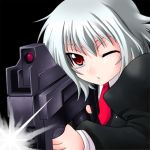 1girl albino bullpup gun kikka_(ukagaka) necktie p90 red_eyes solo submachine_gun ukagaka weapon white_hair yaso_shigeru