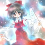 1girl bow brown_hair detached_sleeves dress dutch_angle female gohei hair_bow hakurei_reimu holding long_sleeves looking_at_viewer lowres ofuda outstretched_arms red_bow red_dress red_eyes short_hair sidelocks solo stick the_embodiment_of_scarlet_devil torii_sumi touhou wide_sleeves