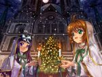 2girls 90s architecture brown_hair candle card_captor_sakura child christmas christmas_tree church daidouji_tomoyo gothic_architecture green_eyes kinomoto_sakura kodansha multiple_girls mutsuki_(moonknives) open_mouth purple_hair snow snowing violet_eyes