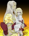 2boys androgynous blonde_hair blood bodypaint bow carrying child demon_form dual_persona facepaint facial_mark floral_background gradient gradient_background holding japanese_clothes kimono kusuriuri_(dark) kusuriuri_(mononoke) long_hair looking_at_viewer looking_to_the_side makeup male_focus mononoke multiple_boys nail_polish obi pale_skin pointy_ears princess_carry sash violet_eyes white_clothes white_hair younger