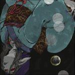 1boy bandanna blonde_hair blue_eyes bow do-rag facepaint facial_mark falling hair_tie japanese_clothes jewelry kimono kusuriuri_(mononoke) lipstick long_hair lowres makeup male_focus mononoke nail_polish necklace obi oekaki pointy_ears sash solo upside-down