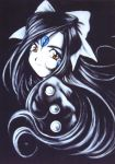 aa_megami-sama black_hair dark facial_mark forehead_mark goddess hair_ribbon highres long_hair ribbon skuld smile