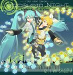 119 1ten 2girls aqua_hair beamed_quavers flat_sign hatsune_miku hexagon instrument kagamine_rin keyboard_(instrument) long_hair microphone multiple_girls musical_note quaver sharp_sign staff_(music) thigh-highs treble_clef twintails very_long_hair vocaloid vocaloid_append zettai_ryouiki