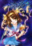 1girl brown_hair nyanmilla school_uniform serafuku short_hair solo suzumiya_haruhi suzumiya_haruhi_no_yuuutsu tanabata tanzaku