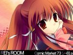 1girl artist_name bow bowtie closed_mouth expressionless little_busters! long_sleeves looking_at_viewer natsume_rin pink_bow pink_bowtie ponytail red_eyes redhead rei_(artist) rei_(rei's_room) solo text upper_body