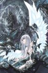 1girl android angel angel_wings cable feathers grey_eyes grey_hair kurogin long_hair machine original robot_girl silver_hair solo technology white_hair wings