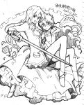 2girls 90s :d bare_legs breasts chiba_sadoru curly_hair himemiya_anthy holding holding_weapon long_hair looking_at_viewer monochrome multiple_girls open_mouth rapier sencha shoujo_kakumei_utena simple_background sitting sketch small_breasts smile sword tenjou_utena unsheathed very_long_hair weapon white_background