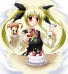 00s 2girls blonde_hair cake duplicate fate_testarossa food fruit lyrical_nanoha mahou_shoujo_lyrical_nanoha multiple_girls o_o pastry pastry_bag strawberry takamachi_nanoha twintails